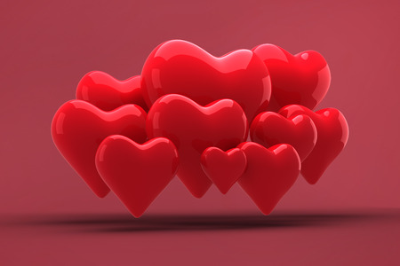 corazones de amor: Corazones del amor contra rojo