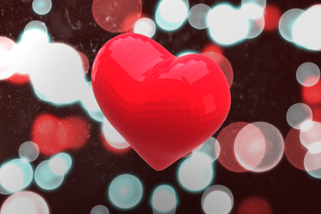 twinkling: Red heart against digitally generated twinkling light design