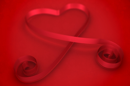 ribbon heart: Red ribbon heart against red background