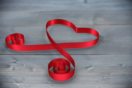 bleached: Red ribbon heart against bleached wooden planks background Stock Photo