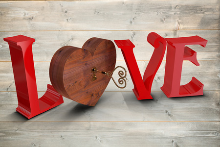 empty keyhole: Love with lock and key against bleached wooden planks background Stock Photo
