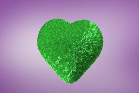 vignette: Green heart against purple vignette