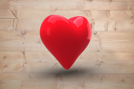bleached: Red heart against bleached wooden planks background Stock Photo