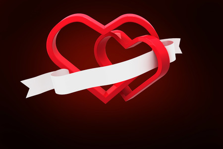 linking: Linking hearts against red background with vignette