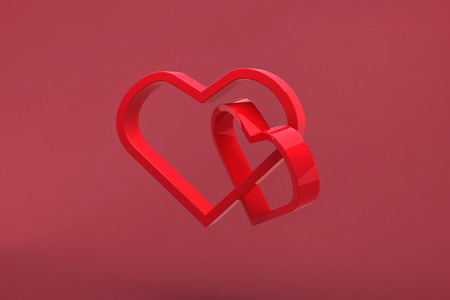 linking: Linking hearts against red Stock Photo