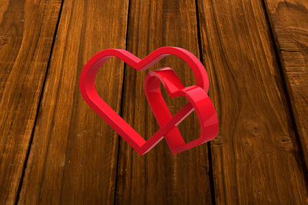 linking: Linking hearts against overhead of wooden planks Stock Photo