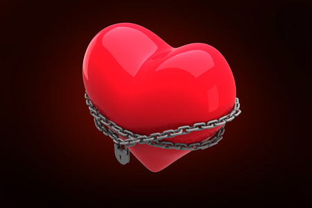 chaining: Locked heart against red background with vignette