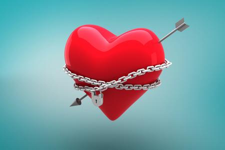 locked: Locked heart against blue vignette background