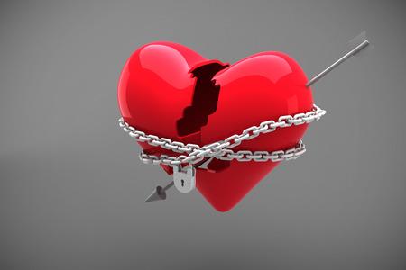 locked: Locked heart against grey Stock Photo
