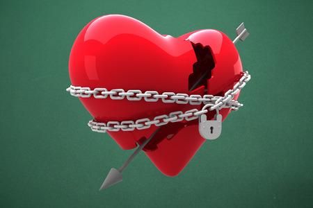 locked: Locked heart against green