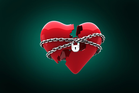 chaining: Locked heart against green background with vignette Stock Photo