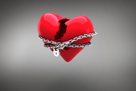 locked: Locked heart against grey vignette