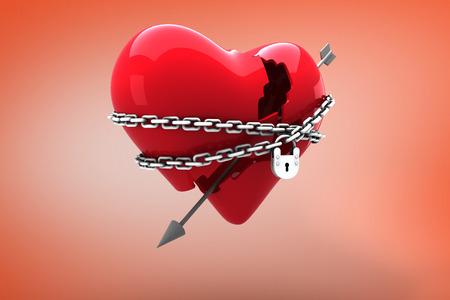 locked: Locked heart against orange Stock Photo