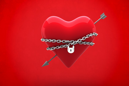 locked: Locked heart against red background