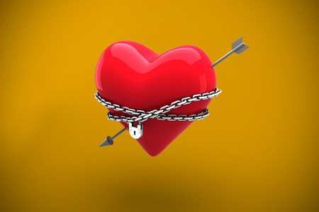 locked: Locked heart against yellow background with vignette