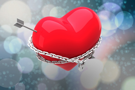 chaining: Locked heart against light glowing dots on blue Stock Photo