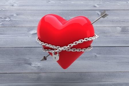 locked: Locked heart against bleached wooden planks background Stock Photo