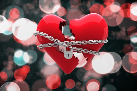 Locked heart against digitally generated twinkling light design photo