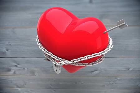 bleached: Locked heart against bleached wooden planks background Stock Photo