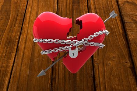 locked: Locked heart against overhead of wooden planks