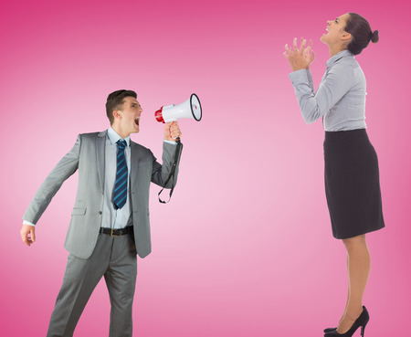 businessman using a megaphone: Businessman with megaphone against pink vignette