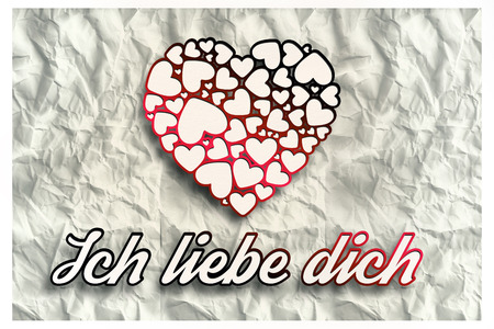 in liebe: ich liebe dich against crumpled white page