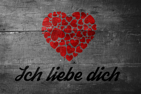 Liebe: ich liebe dich against overhead of wooden planks Stock Photo