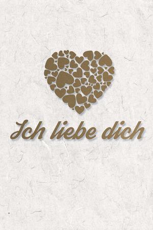 in liebe: ich liebe dich against parchment