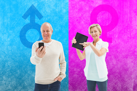 Happy mature woman pointing to tablet pc against female gender symbol photo