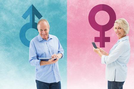 Happy mature woman sending a text against female gender symbol photo