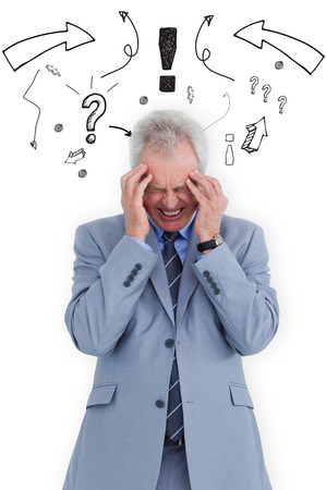 wincing: Man  with headache against arrows pointing to exclamation mark