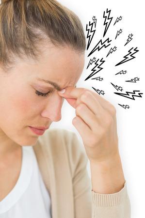 wincing: Woman with headache against lightning bolt