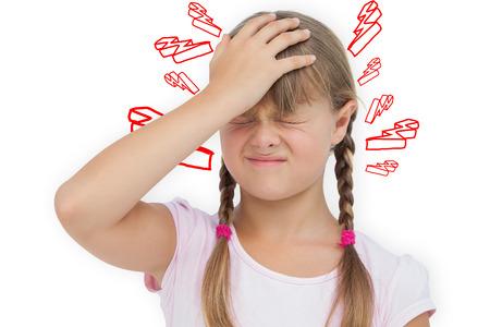 scowl: Little girl with headache against lightning bolt