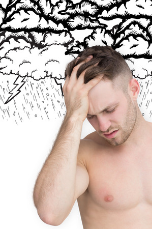 Man with headache against lightning storm photo