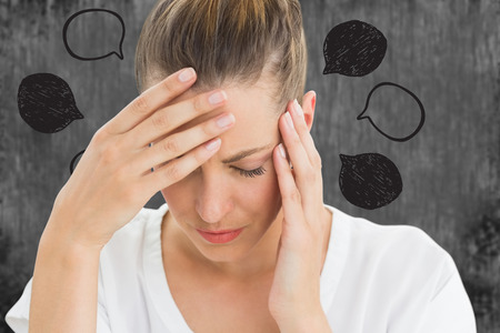 pounding head: Woman with headache against speech bubbles Stock Photo