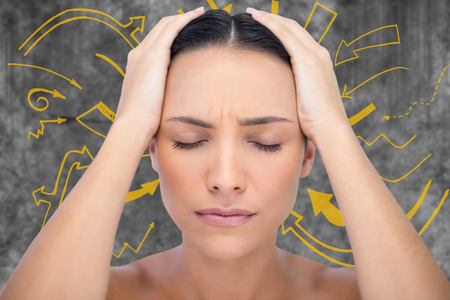 wincing: Woman with headache against arrows graphic