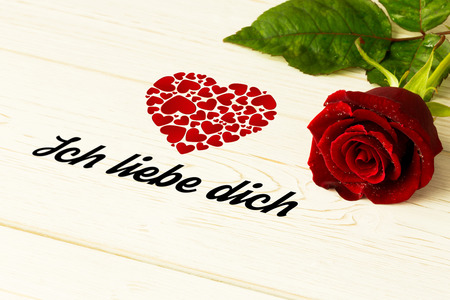 in liebe: ich liebe dich against red rose on wood