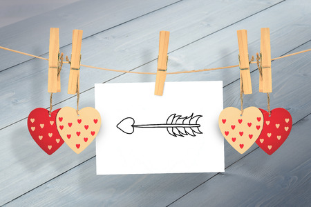 cupids: cupids arrow against bleached wooden planks background