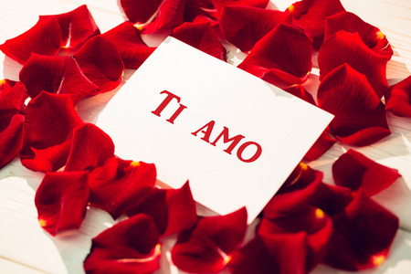 ti amo against card surrounded by rose petals