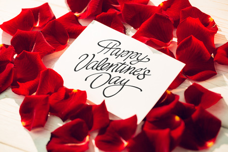 Happy valentines day against card surrounded by rose petals