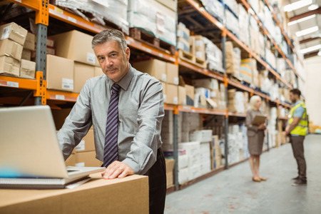 warehouse: Focused warehouse manager working on laptop in a large warehouse Stock Photo