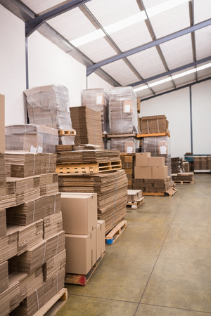 cajas de carton: Many stack of cardboard boxes in a large warehouse