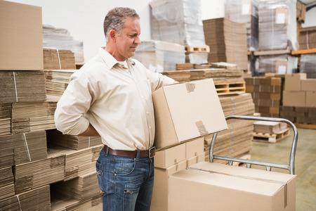 dolor muscular: Vista lateral del trabajador con el dolor de espalda, mientras que la caja de elevaci�n en el almac�n