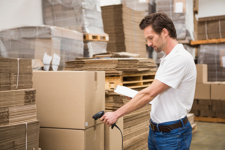 warehouse: Manual worker scanning package in the warehouse