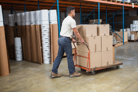 warehouse worker: Worker pushing trolley with boxes in warehouse