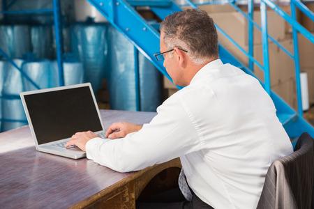 monitor de computadora: El gerente de almac�n trabajando en equipo en un gran almac�n