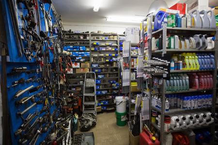 auto mechanic: Full store room at the repair garage