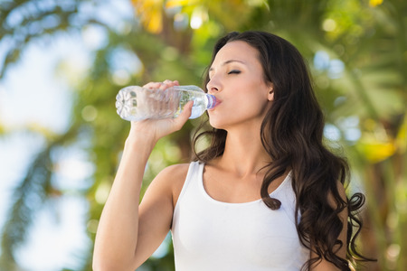 young  brunette: Pretty brunette drinking bottle of water on a sunny day