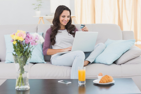 homely: Pretty brunette shopping online with laptop at home in the living room