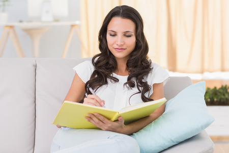 journals: Pretty brunette writing on couch at home in the living room Stock Photo